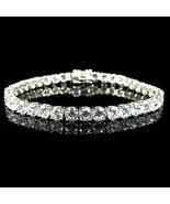 Blanco Oro Sobre Plata de Ley D/VVS1 Diamante Grande 1 Fila Tenis Pulser... - $467.10