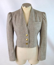 Vintage 80s Oatmeal Tan Speckled Wool Blend Puff Sleeve Cropped Jacket C... - $24.74