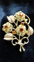 Coro Gold tone Prong Set Topaz and Tangerine Rhinestone Bouquet Flower B... - $35.00