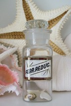 Extremely RARE 5 Inch Glass Label LUG Apothecary Bottle~FERR.REDUC.~Redu... - $494.99