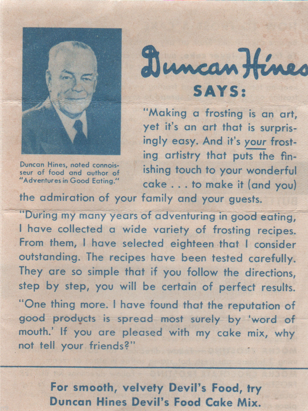 Primary image for Duncan Hines Frosting Recipe Pamplet 7 Main Recipes Plus Additional Combos