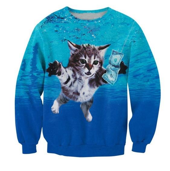 Fashion 3D Cat Cobain Sweatshirt Cat Cobain Crewneck Jumper Kurt Cobain's Nirvan