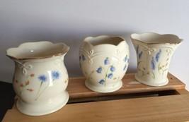 3 Lenox Floral Votives Candle Holder Porcelain Gold Trim Wild Flowers Pa... - $17.09