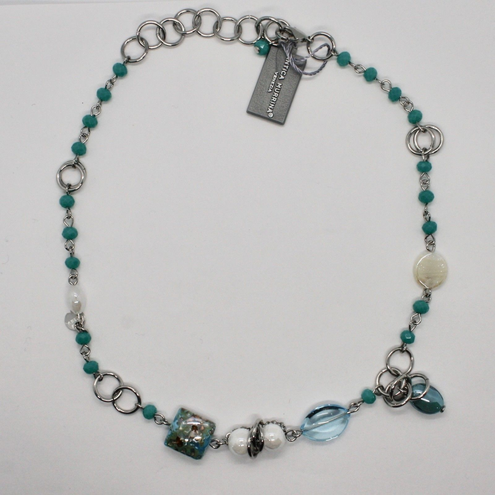 NECKLACE ANTICA MURRINA VENEZIA WITH MURANO GLASS TURQUOISE BLUE BEIGE COA81A07