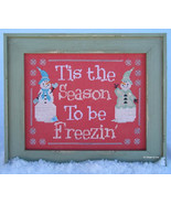 Freezin Season snowman winter cross stitch chart Designs by Lisa - $6.30