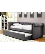 Barrie Nail Trim Button Tufted Full Size Daybed w/ Trundle - Gray Fabric - $1,150.19