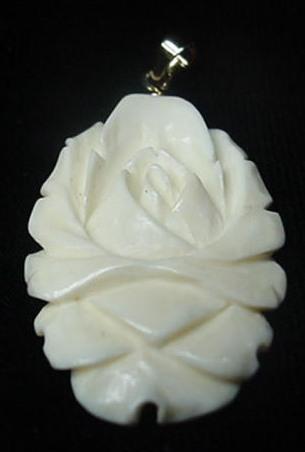 Vintage Large Carved Pre Ban Ivory Rose Flower Pendant