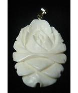 Vintage Large Carved Pre Ban Ivory Rose Flower Pendant - $35.00