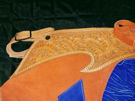 Suede Blue and Orange Chinks Cutting Horse Bronc Ranch Chaps NEW Size XL image 1