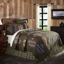 4-pc Seneca Twin Quilt Set - Quilted King Sham, Rustic Canoe Pillow & Bed Skirt