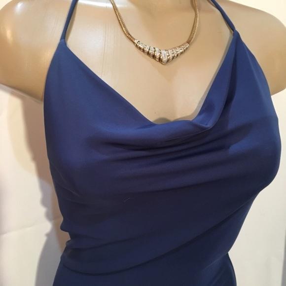 Opera steel blue sleeveless calf length halter dress 6