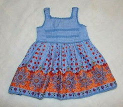 Childrens Place Girls Dress Size 12 Months Blue Orange Floral Lace Sprin... - $15.83