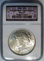1922 Silver Peace Dollar Fitzgerald Collection NGC MS 63 Casino Hoard Pe... - $99.99