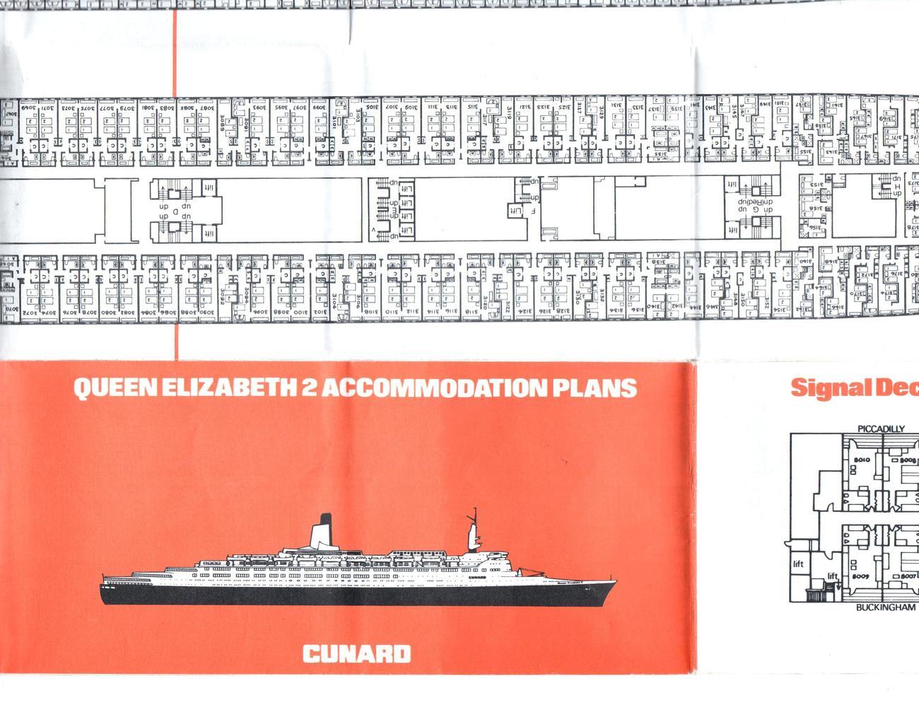 H.M.S. Queen Elizabeth 2 - Deck Plan - Accommodation Plan of Cunard Line QE2