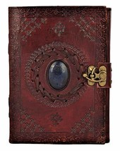 Leather Journal with Semi-precious Stone & Buckle Closure Leather Diary ... - $49.25