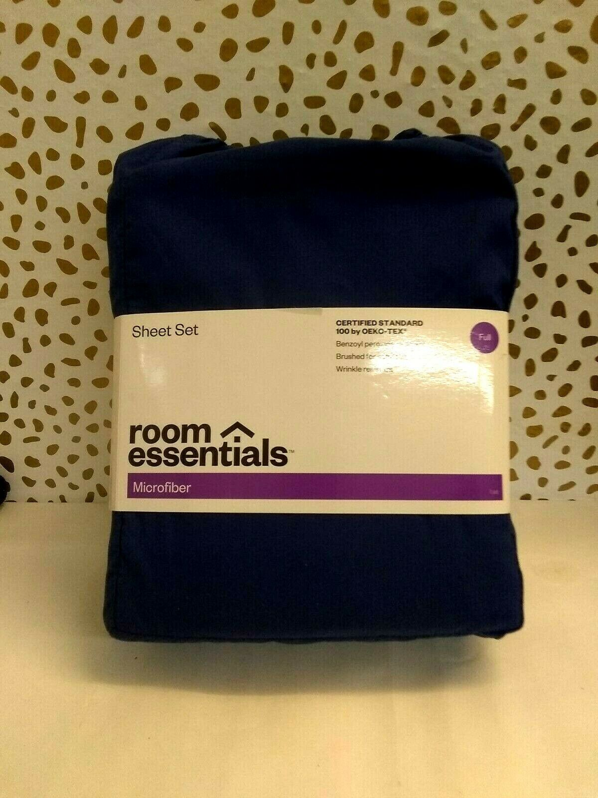 Room Essentials Microfiber Solid Sheet Set, Sudden Sapphire, Full,  brand new