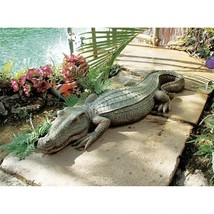 LARGE REALISTIC SWAMP BEAST CROC TEXTURE DETAILED GARDEN POOL PATIO SCUL... - $137.60