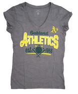 Oakland Athletic A's de Femmes V-Neck T-Shirt, Gris, Moyen - $11.90