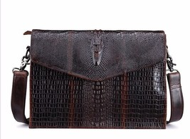 BDF Business Crocodile Men Briefcase Messenger Cowhide Single Shoulder Bag - $63.63