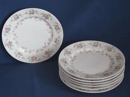 """7 Salad Plates Limoges Wm Guerin & Co Vintage Rose Violets Flowers 7 1/4"""" - $34.64"""