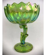 VTG Lotus Pedestal Footed Candy Nut Dish Green Iridescent Carnival Glass... - $19.70
