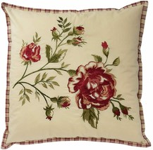 Waverly Norfolk 20x20 Embroidered Decorative Pillow Throw Red Green Flor... - $74.25