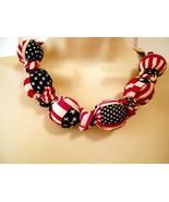 Fabric Knot Statement Necklace - Patriotic American Prim Flag - $14.95