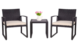 Outdoor Patio Furniture Bistro Set Black Wicker Furniture Glass Coffee Table - $199.99