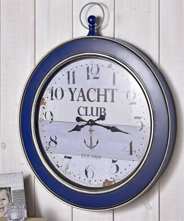 "Primary image for 28"" x 34"" Nautical Vintage Look Blue Border Yachet Club Sentiment Wall Clock"