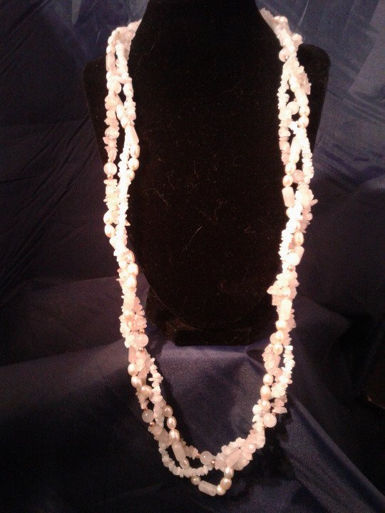 "30"" Handmade 3 Strand Pearl, Moonstone and Rose Quartz Beaded Necklace Z171"