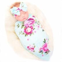 Newborn Receiving Blanket Headband Set Flower Print Baby Swaddle (Green) - $21.06