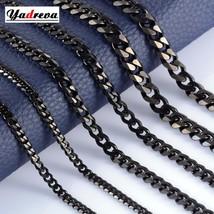 Stainless Steel 3.5mm / 5mm / 7mm Cuban Chain Black Waterproof Men's and Women's - $18.67