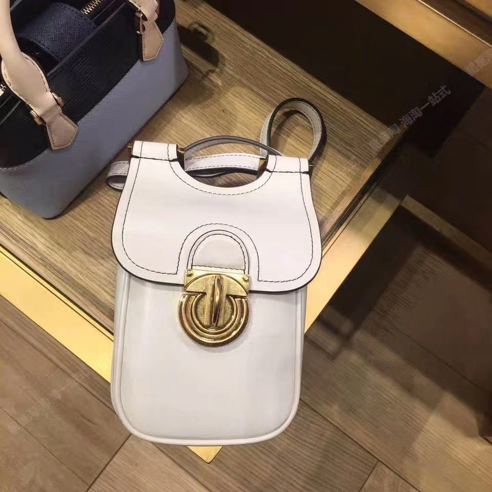 TORY BURCH James Phone Crossbody Bag Womens Leather Mini Shoulder Bag White