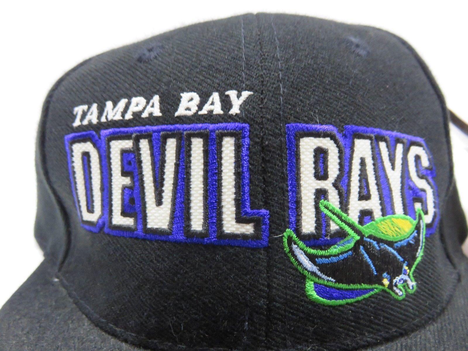 90s Tampa Bay Devil Rays MLB Black Baseball Adjustable Snap Back Hat NOS w/ TAGS