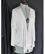 LOFT Light Sweater wrap L Metallic Gray Rayon Blend Button Strap Sleeve ... - $19.96