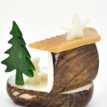 Hand Carved Tagua Nut Carving Nativity Scene Figurine w Manger & Christmas Tree image 3