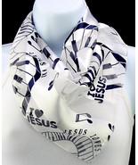I love Jesus Women's Scarf Religious Christian Piano Music Blue White Sc... - $15.79
