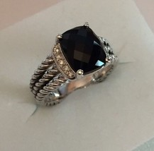 David Yurman Sterling Silver Petite Black Onyx & Diamond Wheaton Ring Size 7 - $292.05