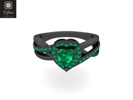 Anniversary Ring Gift Green Diamond Engagement Ring Gift For Mom Heart Ring Gift - $99.99
