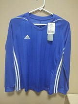 New Adidas Womens Small Climacool Soccer Tiro 17 Jersey Blue Long Sleeve BS4486 - $19.00