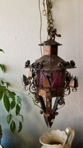 ANTIQUE SPANISH REVIVAL IRON & TIN HANGING PENDANT LIGHT  CHANDELIER RED... - $188.09