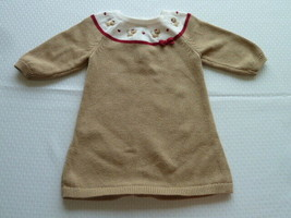 Gymboree Glamour Kitty 3-6 Months Kitten Cat Knit Sweater Dress Tan Red ... - $16.81