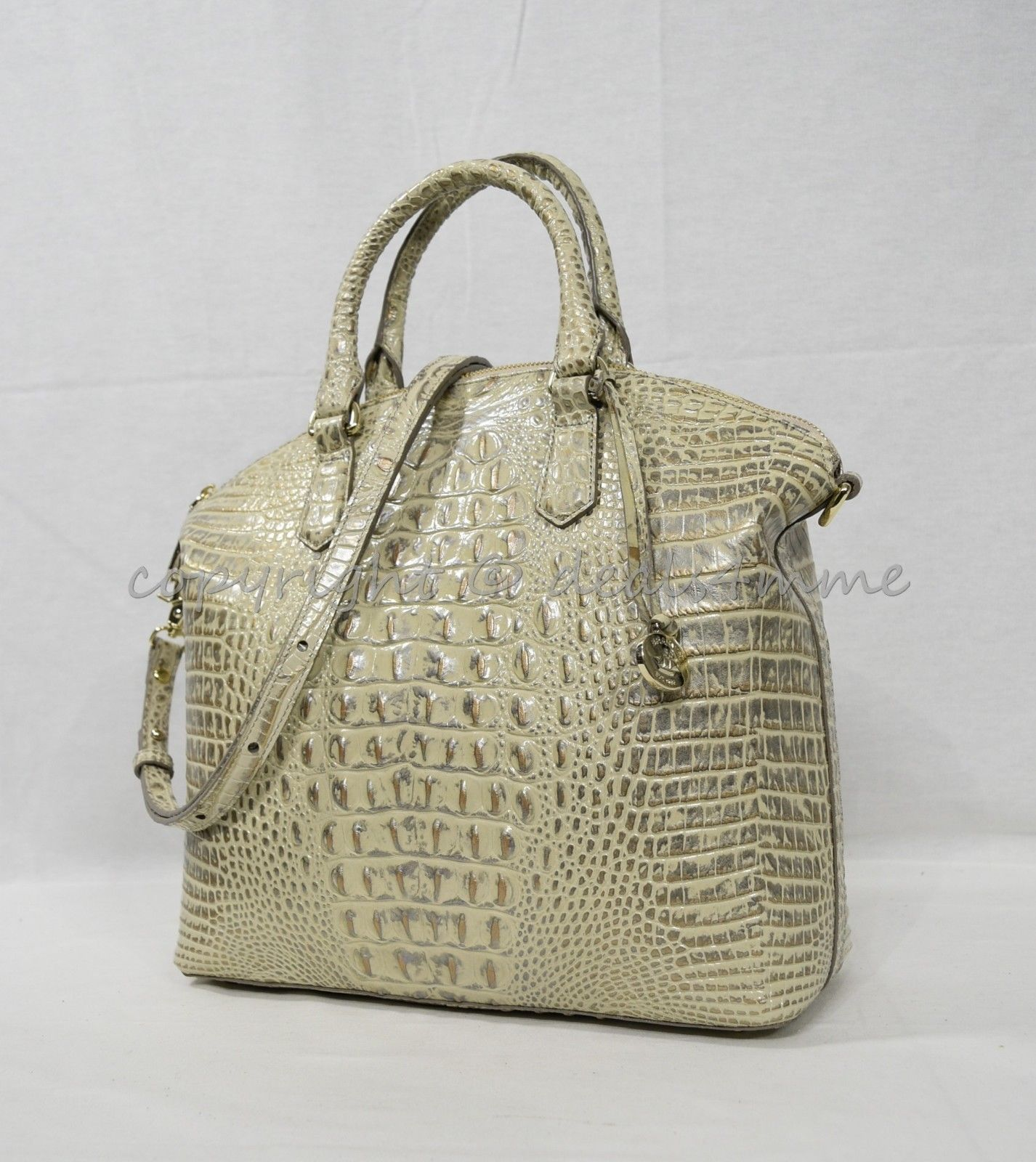 NWT Brahmin Large Leather Duxbury Satchel/Shoulder Bag in Silver Birch Melbourne