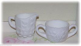 ❤️ Westmoreland & Fenton Paneled Grape White Milk Glass Open Sugar Creamer Set❤️ - $17.50