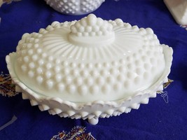 Vintage Fenton Hobnail Milk Glass 4 Footed Covered Candy Dish - $18.46