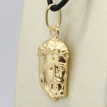 18K YELLOW GOLD JESUS FACE PENDANT CHARM 25 MM, 1 INCH, FINELY WORKED ITALY MADE image 2