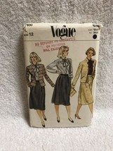 Vogue 7830 Misses Jacket Skirt Blouse Vintage Sewing Pattern Size 12 - $12.86