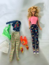 Mattel Blonde Hair Barbie in Leggings with extra clothing Lot - $21.35