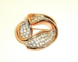 VTG Pin Brooch Gold Tone Clear Rhinestone Round Wavy 3D Geometric Mod Br... - $9.85