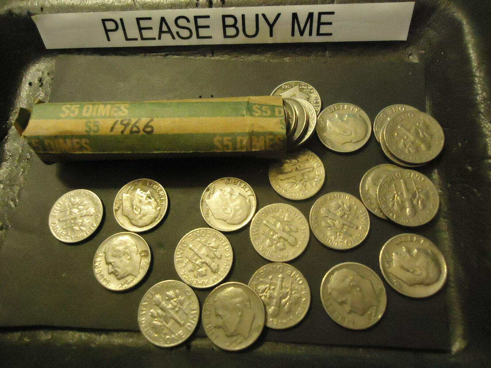 1966 ROOSEVELT DIME ROLL      ****        >> COMBINED SHIPPING  - $10.89